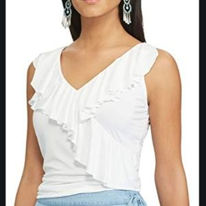 CHAPS Ruffle Blouse Cami Top White Formal